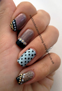 neutral nails polka dot nail art