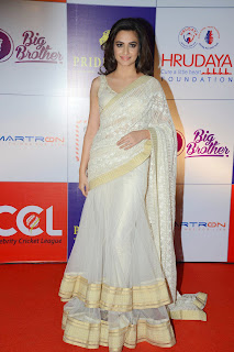 Actress Kriti Kharbanda Latest Pictures in Saree at CCL Charity Dinner  7.JPG