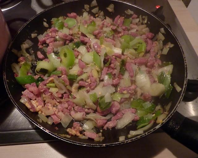 preparation-lardons-poireaux- oeuf