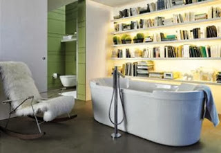 Bookshelf with books in the bathroom