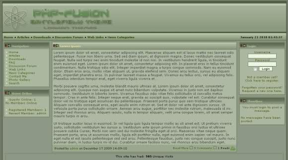 Free php-fusion Green Army 3 Column Theme