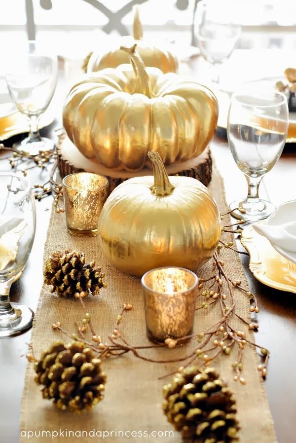 http://apumpkinandaprincess.com/2013/10/thanksgiving-inspired-gold-table-decor-dinner-party.html