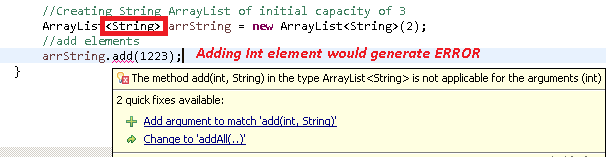 Arraylist of String type dont accept Int in java