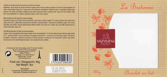 tablette de chocolat lait gourmand monbana lait la bretonne