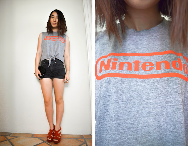 nintendo muscle tee diy crop tie shorts high waisted black grey game vintage retro thrift thrifted sequin bag clutch asian girl short hair shoes heels red straps