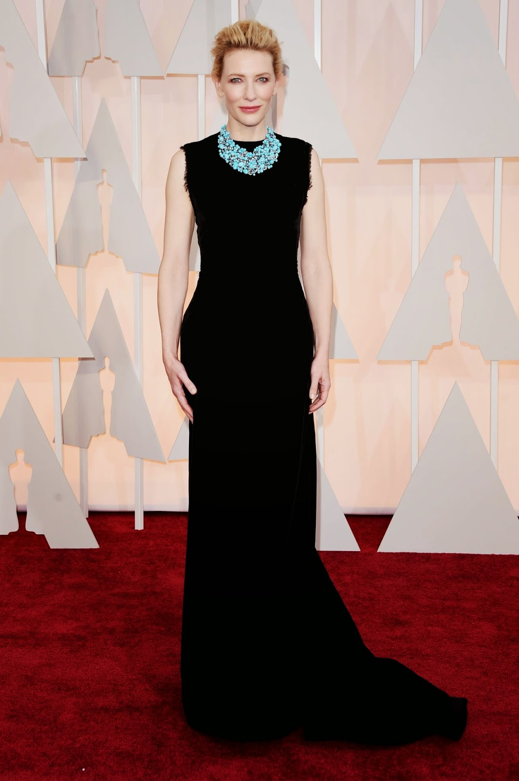 Cate Blanchett pairs black gown with a turquoise necklace at the 2015 Oscars in Hollywood