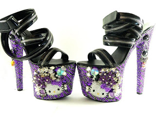 Hello Kitty high heel shoes purple rock chic with zips and straps