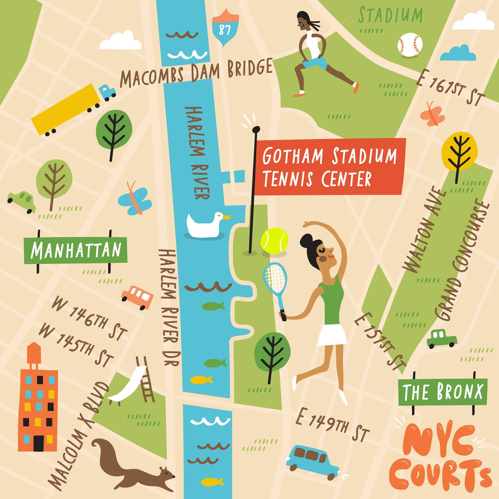 I Draw Maps Illustrated Map Series of NYC Tennis Courts for IBM