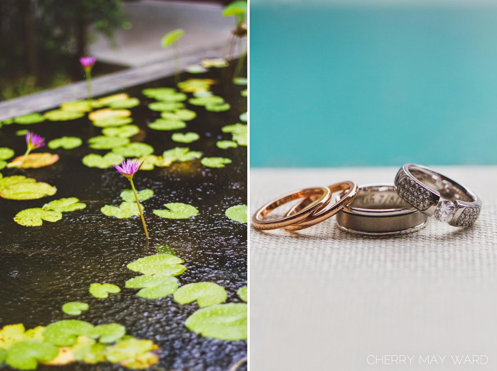 rain on wedding day, wedding rings photo, beautiful wedding rings, wedding bands, beautiful diamond engagement ring, Koh Samui wedding photographer