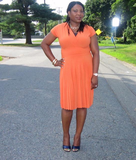 alfani dress, navy blue pumps, Chain link necklace,