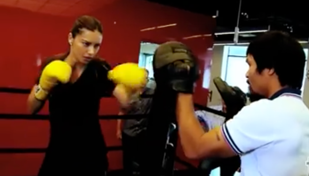 Adriana Lima sparring session with Manny Pacquiao