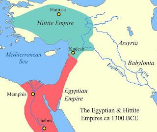 خريطة توضح حدود الامبراطوريتين المصرية والحيثية خلال مطلع عصر الرعامسة