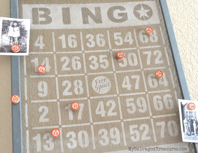 stenciled vintage window screen with Bingo stencil from Funky Junk Interiors Old Sign Stencils