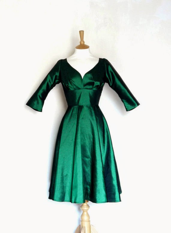 50s Emerald Dress: Affordable Wedding Dresses - Green Queen