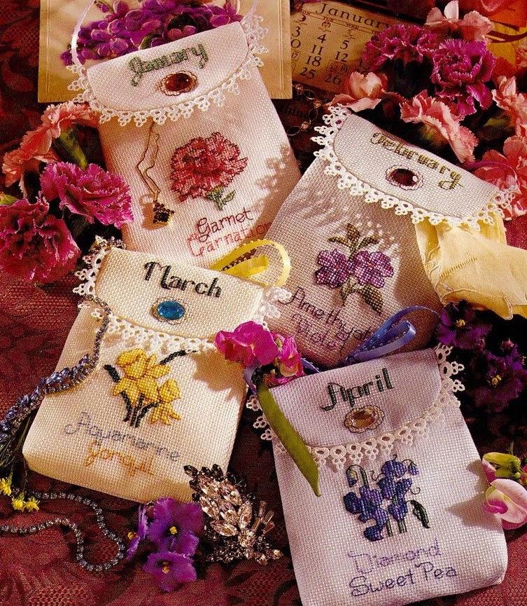 Идеи вышивки для сумочек-саше со схемами