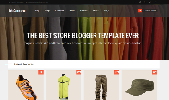 Betacommerce Shopping Blogger Template Templateism