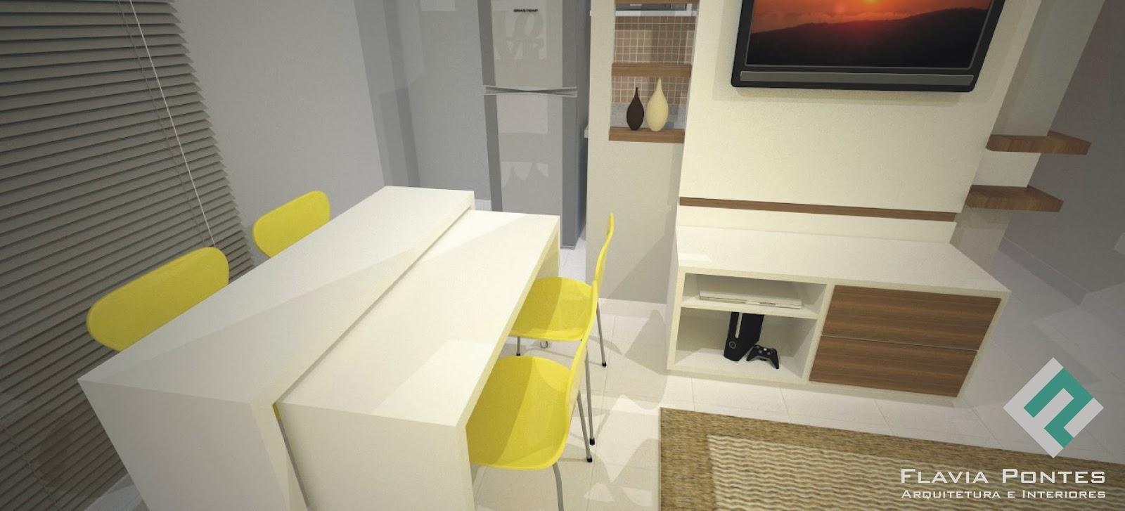 Flavia Pontes Arquitetura -> Cozinha Integrada Com Sala De Jantar Pequena