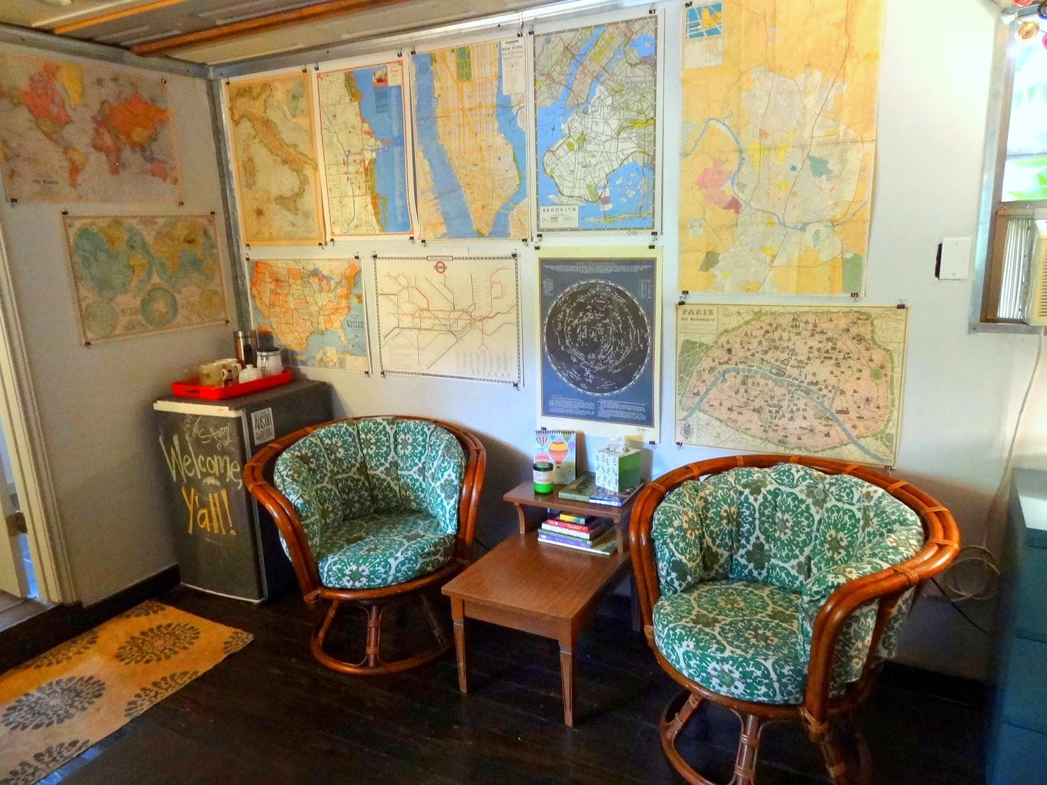 Vintage Maps & Funky Rattan Chairs
