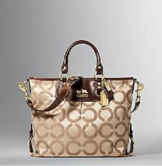 nwt coach 12963 madison op art julianne tote bag khaki