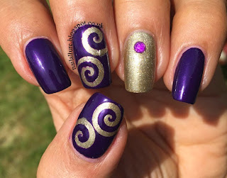 Gold & Purple Swirls Manicure