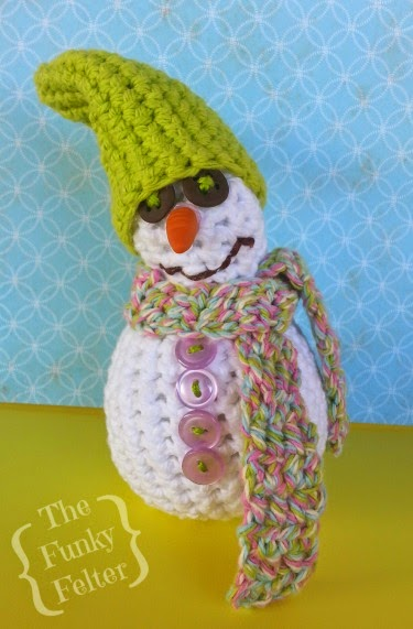 Quick and easy free crochet snowman pattern by the funky felter