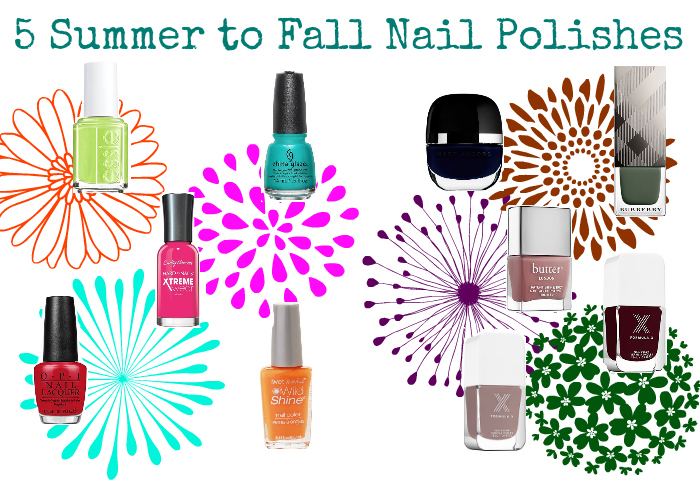 JUMP INTO FALL | 5 Summer to Fall Nail Polishes 2015, sally hansen, china glaze, opi, wet n wild, marc jacobs, burberry, formula x, butter london