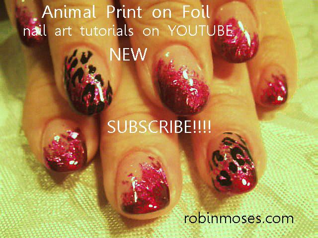 Animal print nails pink