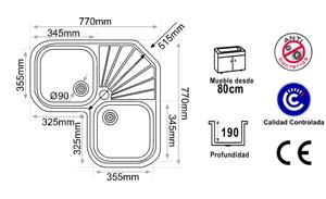 medidas fregadero rincon angular esquina dimensiones