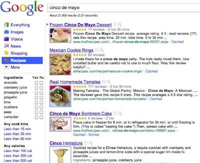 Recetas de cocina en el menú de búsqueda de Google