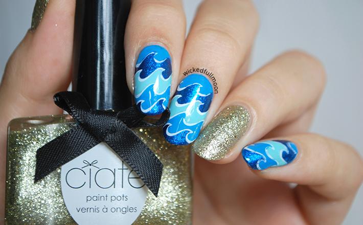 Wicked Fullmoon: | Nail Art | Olas azules.