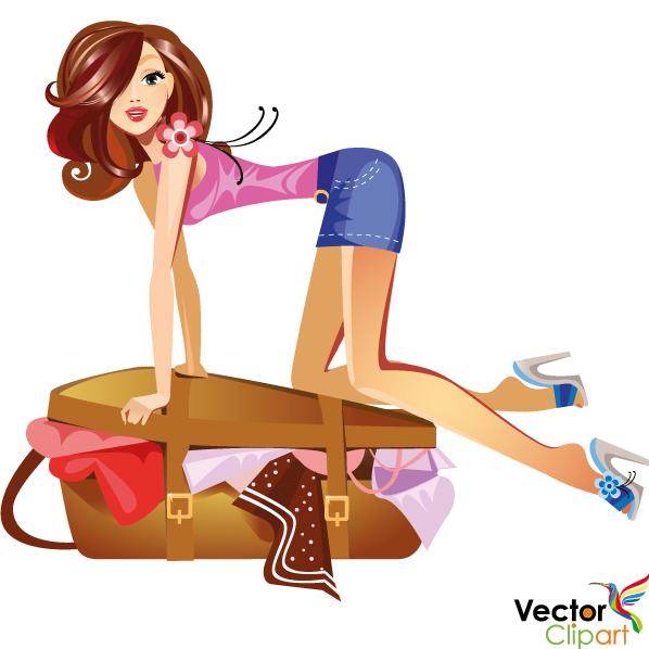 Chica y maleta para vacaciones - Vector