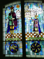 Stained glass at Cozia Monastery Mircea  the Old and Michael the Brave