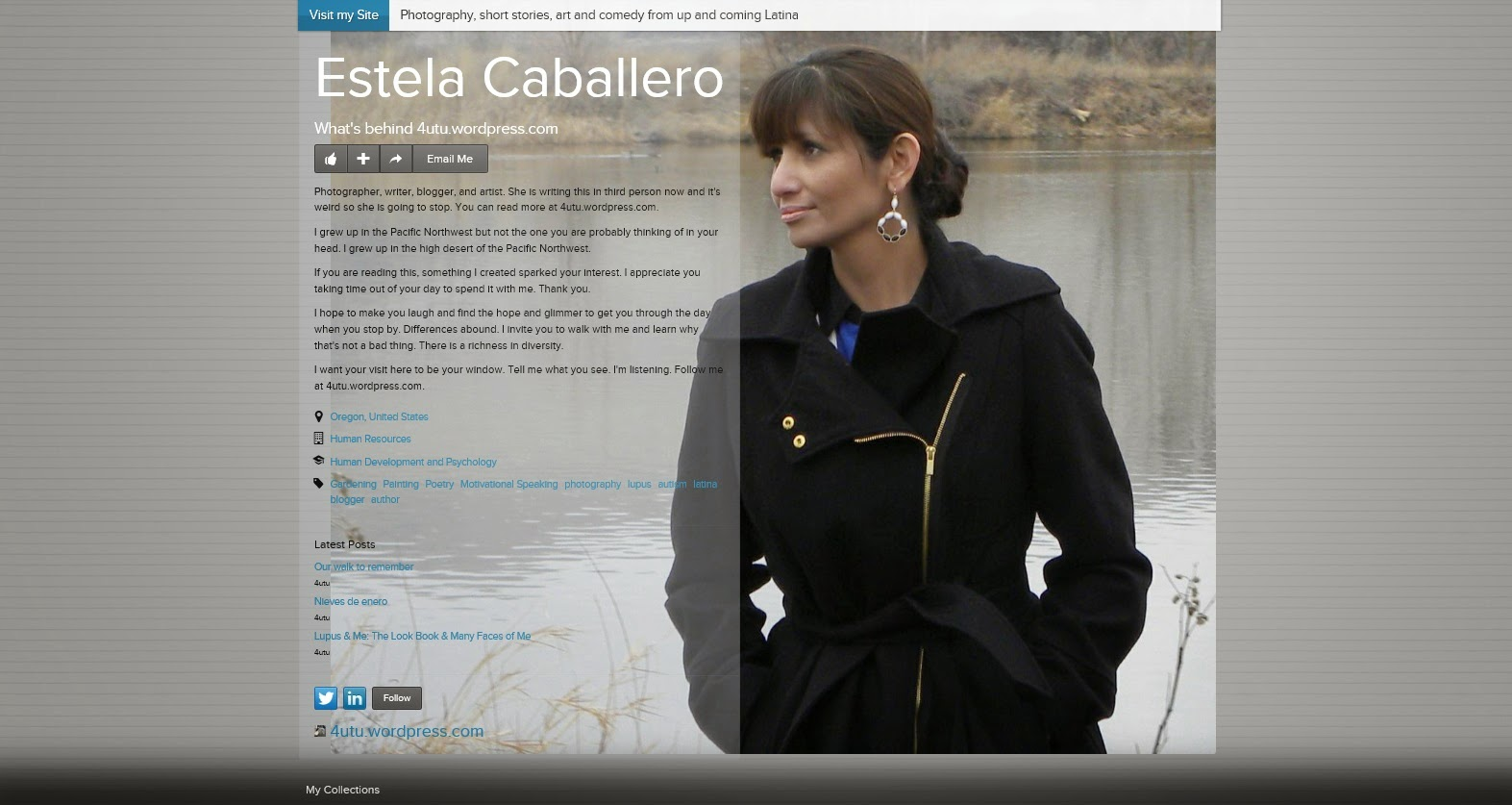 An image of Estela Caballero's, (Photographer, Blogger, Writer and Artist) about.me page