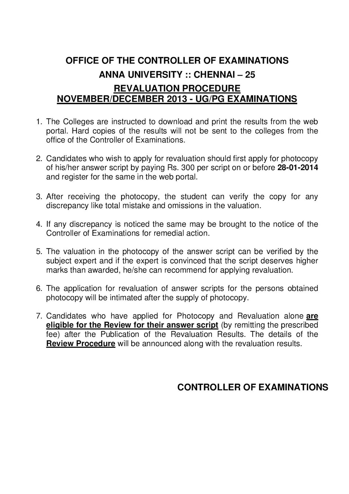Anna university revaluation circular for nov dec exam