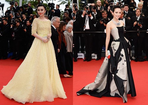 Fan Bingbing in Elie Saab and Zang Ziyi in Carolina Herrera
