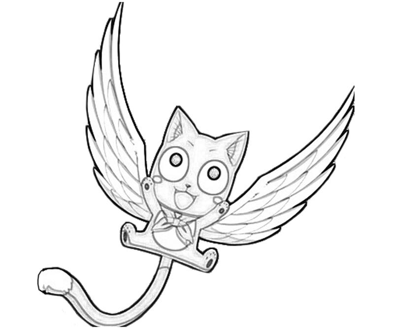 Printable Fairy Tail Happy Action Coloring Pages title=