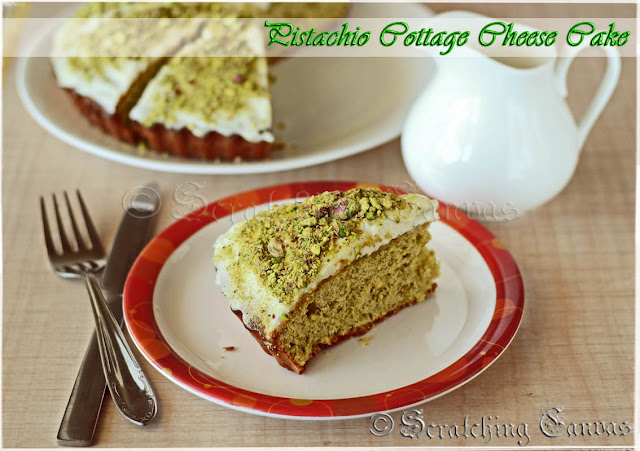 Butter less Oil Less Pistachio Cottage Cheese Cake