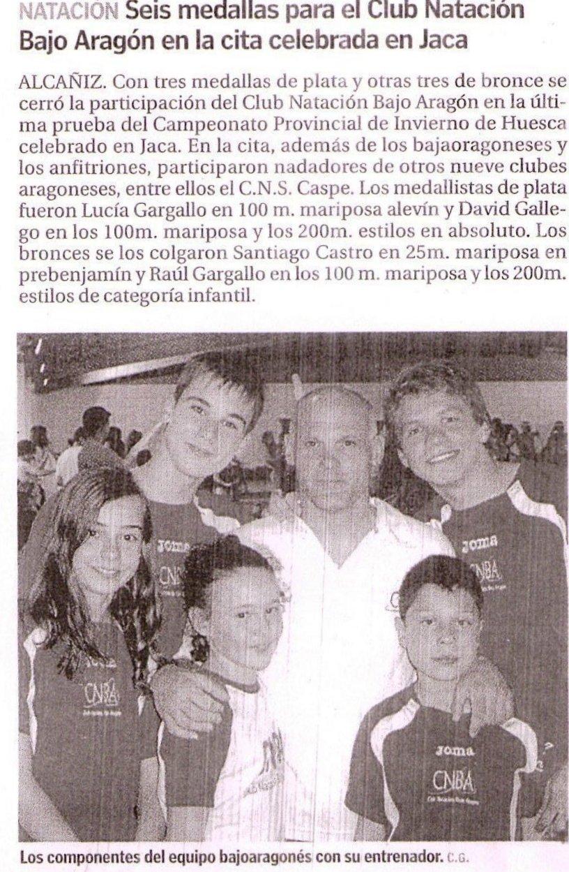 Club nataci n bajo arag n resultados 4 jornada provincial de invierno en jaca - Piscina municipal jaca ...