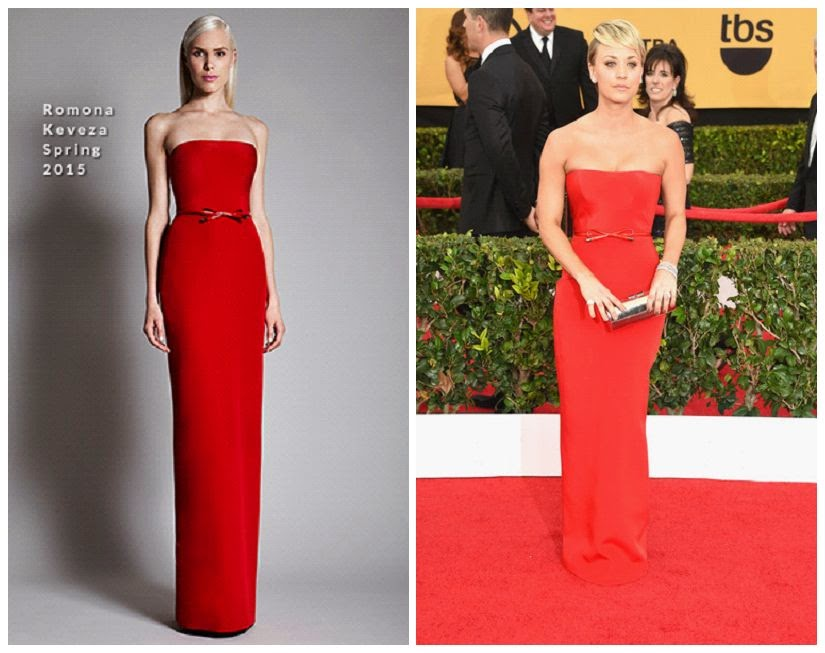 The red gown of Kaley Cuoco's been heading toward into a special agenda for Ramona Kaveza Spring 2015. And you can see all the number of A-listers to their website: Romona Kaveza.com.