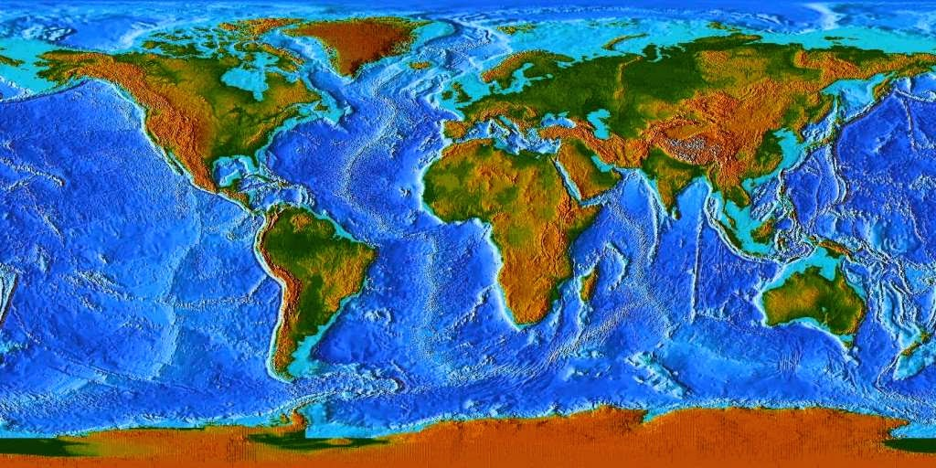 Satellite Earth Maps Free Printable Maps - Topographic map of the world