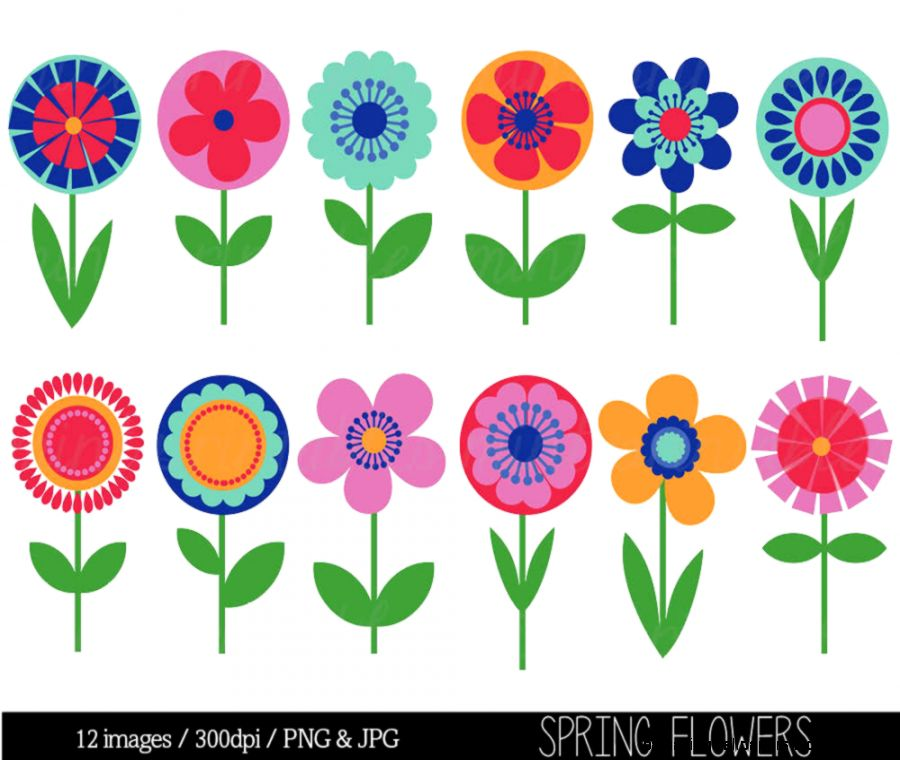 Flower Clipart Clip Art Bright Flowers Retro by mintprintables