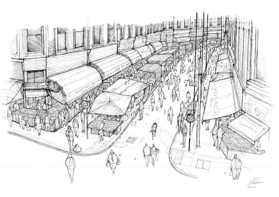 10-Brixton-Market-Luke-Adam-Hawker-Creating-Architectural-Drawings-on-Location-www-designstack-co