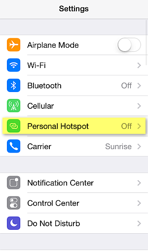 iphone settings personal hotspot