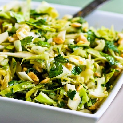 crunchy napa cabbage asian slaw with sugar snap peas radishes almonds ...