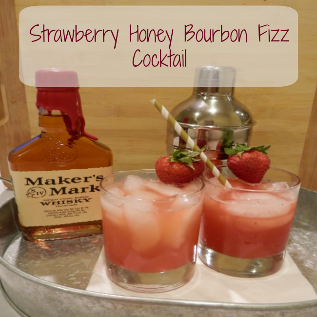 strawberry honey bourbon fizz cocktail