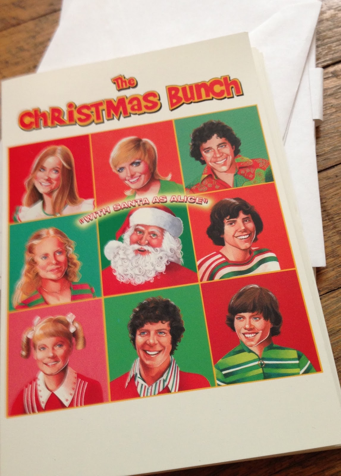brady bunch christmas card template