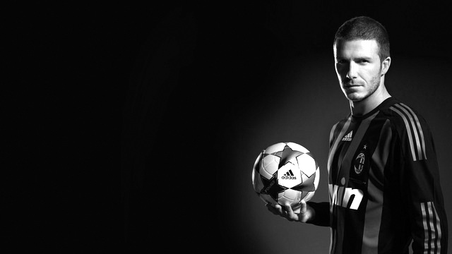 David Beckham with football black and white Photography