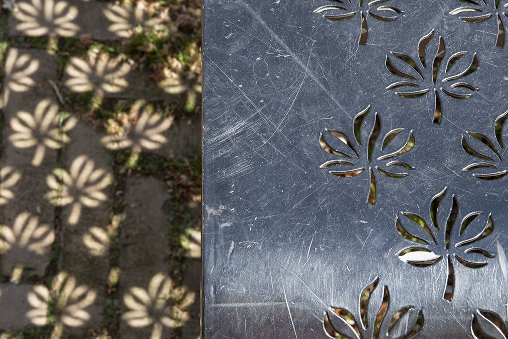 black bench with flower shadows