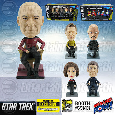 San Diego Comic-Con 2015 Exclusive Star Trek Captains Monitor Mate Bobble Head Box Set by Big Bang Pow! - Captain James T. Kirk (Star Trek: The Original Series), Captain Jean-Luc Picard (Star Trek: The Next Generation), Captain Benjamin Sisko (Star Trek: Deep Space Nine), Captain Kathryn Janeway (Star Trek: Voyager) and Captain Jonathan Archer (Star Trek: Enterprise)