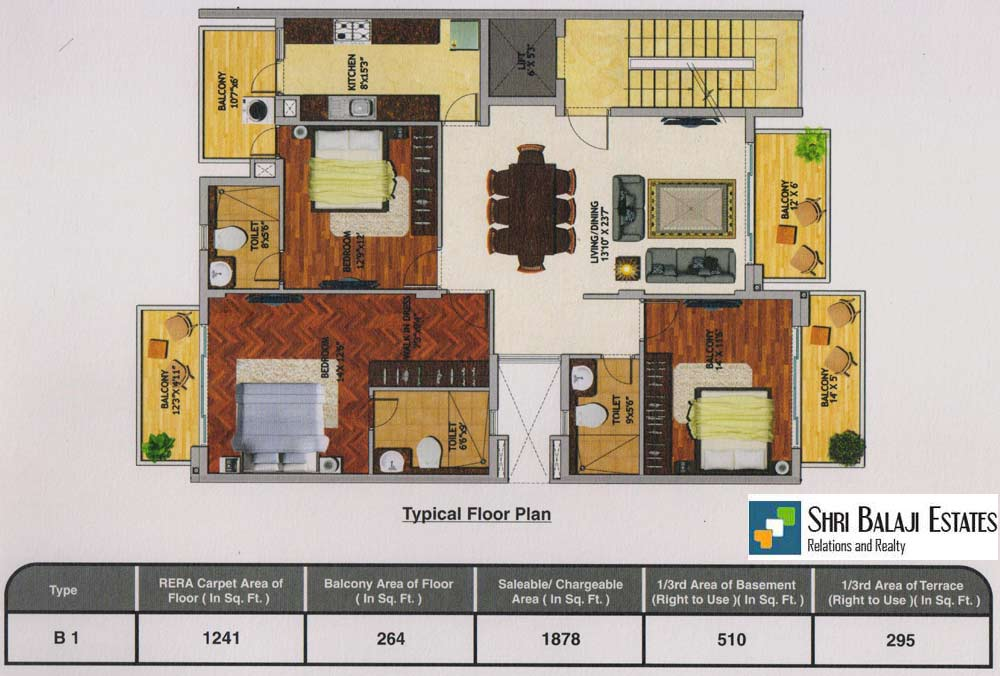 Floor Plan  ( 3BHK - B1 )